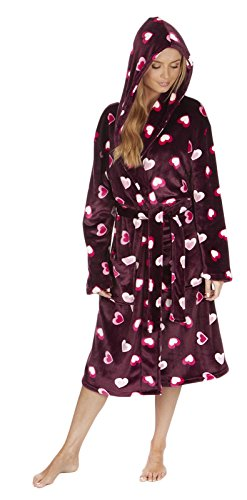 Florentina Women's Soft Hooded Robe by Burgundy with Hearts (M)