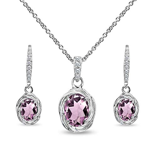 Sterling Silver Simulated Alexandrite & Cubic Zirconia Oval Love Knot Leverback Earrings & Pendant Necklace Set