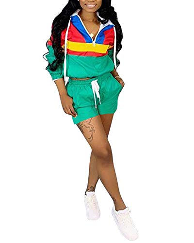 (Women's 2 Piece Outfits - Color Block Pullover Hoodie Long Sleeve Windbreaker Tops + Shorts Set Tracksuit Rompers Green XX-Large)