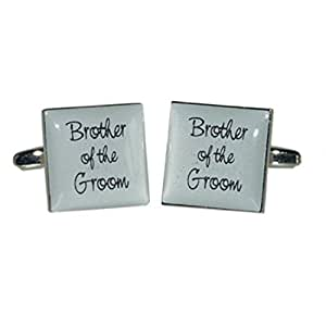 Brother of Groom Ash Grey Square Wedding Cufflinks