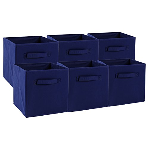 Transfertex Foldable Storage Cube Basket Bins-6 Pcs- Containers for Home Shelf Organizer Cloth Collapsible Box and Kids Toys Drawer (NavyBlue)