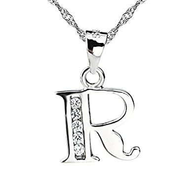 Sojewe Women 925 Sterling Silver Alphabet Letter L Necklace Inlay Cubic Zirconia Pendant Platinum Plated Chain 40-45cm/15.7-17.7in yiJ3St