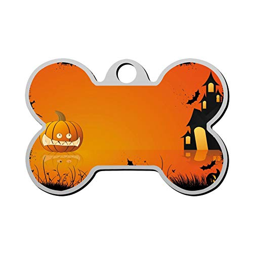 GPZHM Customized Halloween Night Pet Tag - Bone Shaped Dog Tag & Cat Tags Pet ID Tag Personalized Custom Your Pet's Name & Number 3D Printing]()