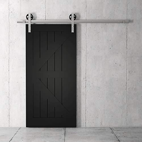 "Farmhouse Woodcraft 83"" Black Sliding Wood Panels Builder's Barn Door"