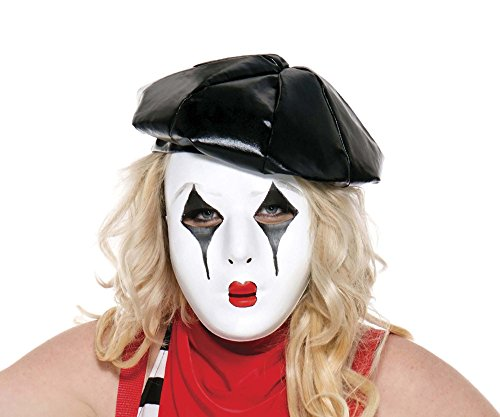 Music Legs Women's French Mime Mask, Black/White/Red, One (Mime Mask)