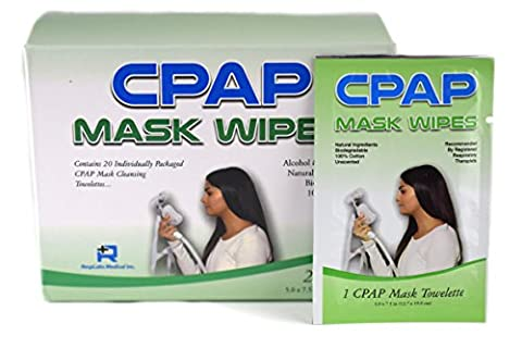 RespLabs Original CPAP Mask Travel Wipes in a 20 Pack — Individually Wrapped - Opus Nasal Pillow