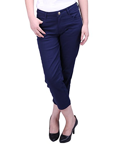 HDE Women's Mid-Rise Stretchy Relaxed Fit Cropped Jeans Denim Capri Pants (Navy, Small)