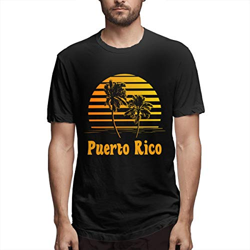 Puerto Rico Sunset Palm Trees Crewneck Tshirts Short-Sleeve Clothes Men's