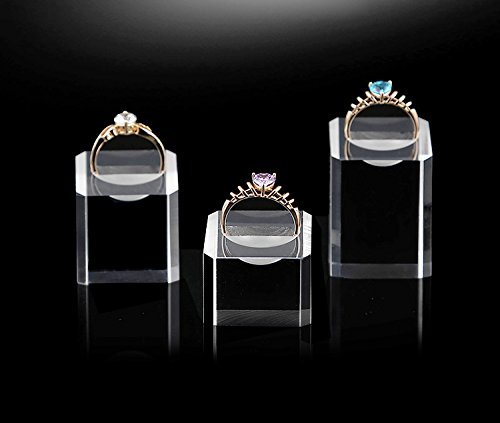 Acrylic Ring Display Stand Holder for Engagement Ring Fine Jewelry Display Store Gallery (Set of 4) by Svea Display (Image #3)