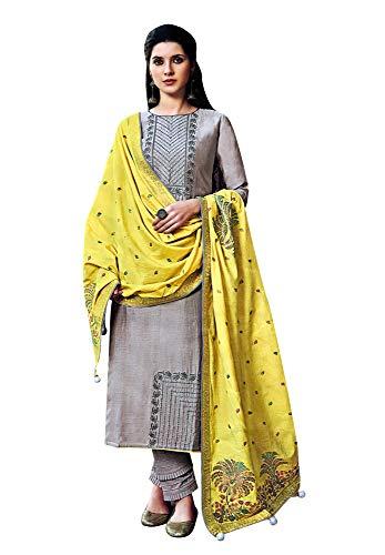 ladyline Maslin Silk Elegant Embroidered Salwar Kameez with Meenakari Banarasi Silk Dupatta & Pants