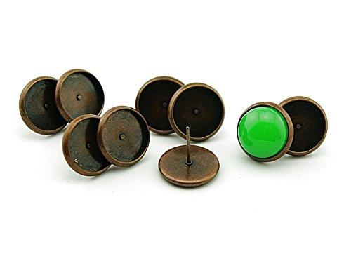 10 Ohrstecker Kupferfarben f/ür 12 mm Cabochons von Vintageparts DIY-Schmuck
