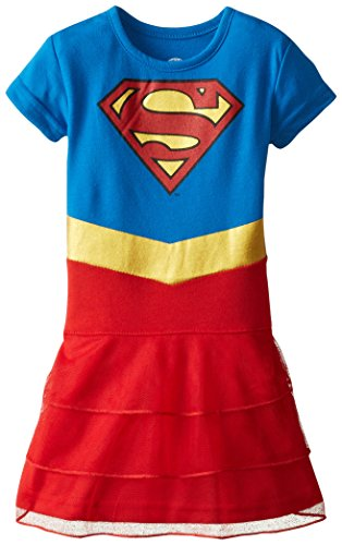 [Intimo Little Girls' Toddler DC Comics Super Girl Costume Nightgown, Blue, 2T] (Toddler Supergirl Costumes)