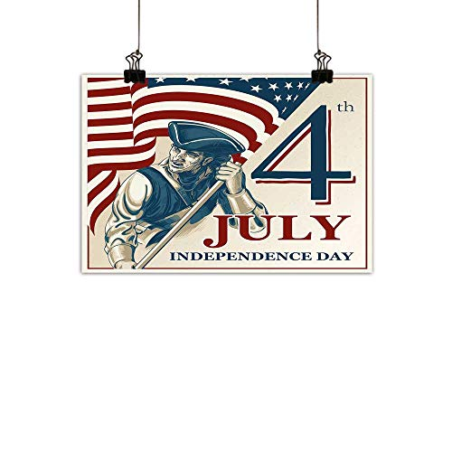 Warm Family 4th of July Art Oil Paintings Sketch Style Soldier Holding The Old Glory Independence Day Themed Illustration Canvas Prints for Home DecorationsMulticolor 31