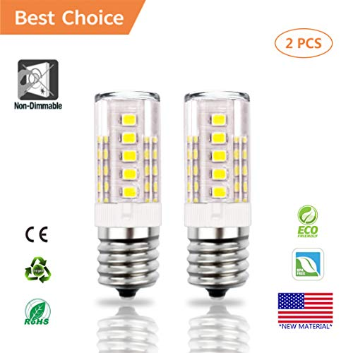 E17 LED Bulb, Akindoo 4W Microwave Oven Appliance Light Bulbs, 40W Halogen Bulb Equivalent, 400LM, Non-Dimmable Corn Bulbs for Over The Counter Range Hood, Daylight White 6000K (2 Pack)