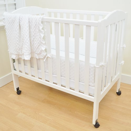 Dreams Crib Baby Bumper Bedding - American Baby Company Heavenly Soft Minky Dot Chenille Portable/Mini Crib Bedding Set, White,3-Piece, for Boys and Girls