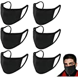 STAR LELEE 6 Pack Unisex Unisex Anti Dust Face Mouth Can Be Washed Reusable 100% Cotton Black