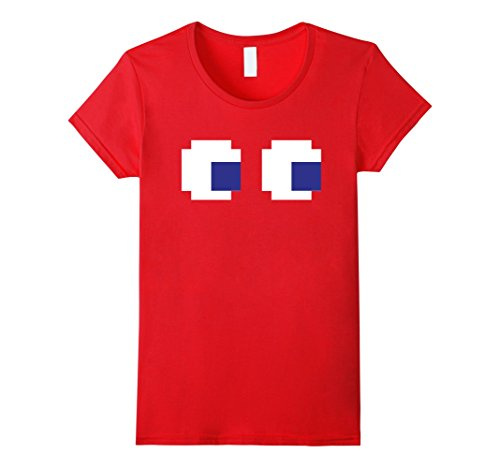 Quick Video Game Costume Ideas (Womens Funny Easy Ghost Eyes Video Game Halloween Costume T-Shirt Medium Red)