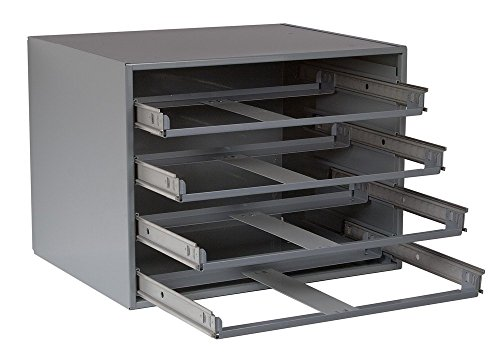 """Durham 303-95 Gray Cold Rolled Steel Easy Glide Slide Rack for 4 Large Compartment Box, 20"""" Width x 15"""" Height x 15-3/4"""" Depth from Durham"""