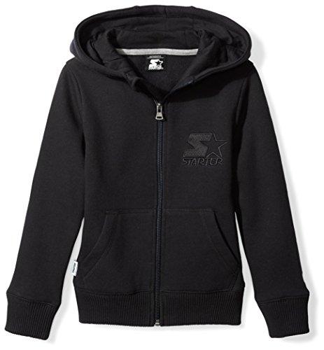 Embroidered Running Sweatshirt - Starter Girls' Zip-up Embroidered Logo Hoodie, Prime Exclusive, Black, L (10/12)