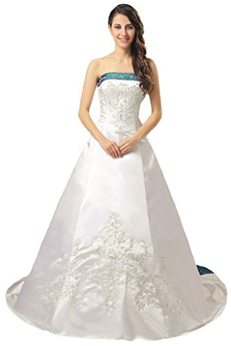 830b52095fc Vantexi Elegant Satin Embroidery Wedding Dress Bridal Gown Ivory Teal 18
