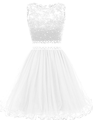 ieces Short Prom Gowns Beaded Homecoming Dresses H021 16 White ()