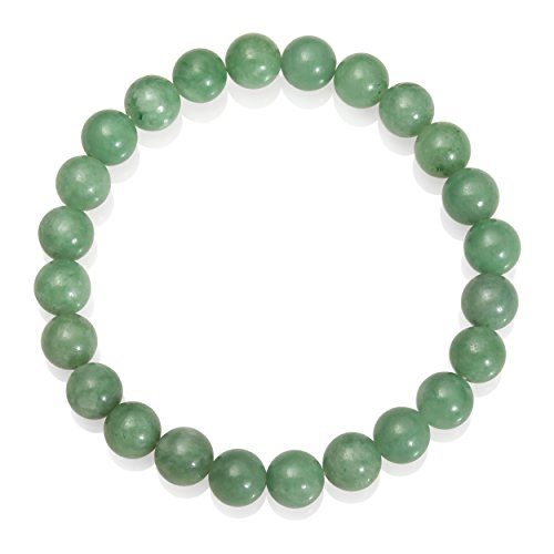 Natural Green Jade Bead Stretch Bracelet, 8.5