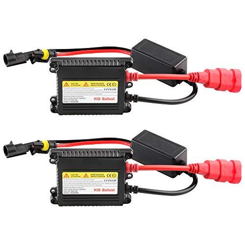 2Pcs Slim HID Ballast 55W 12V Car HID Xenon Ballast Replacement for H1 H3 H7 H8 H9 H11 9005 9006 H4 Headlight Xenon Lamp Bulb ()