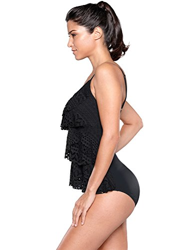dc11144b58a5 Blossil Women's Black Lace Crochet Layered Cami One Piece Swimsuit Overlay  Bathing Suit Size XX-