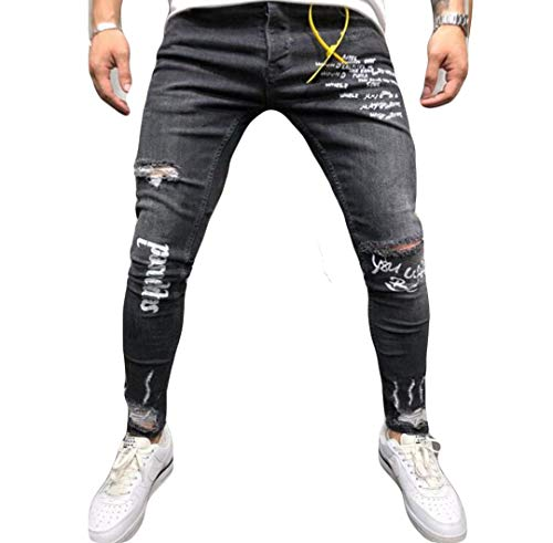 Musuos Men's Ripped Skinny Distressed Destroyed Straight Fit Side Striped Zipper Jeans with Holes (XL=US L, Black(Letter Print))