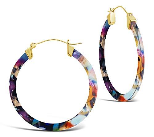 Sterling Forever - 50mm Resin Hoop Earrings (in multiple styles) (Light Confetti)