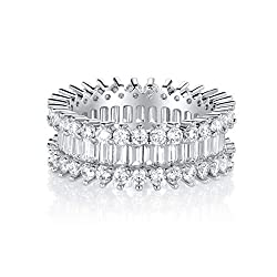 White Gold Plated Simulated Diamond CZ Rings