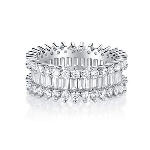 VOLUKA 18K White Gold Plated Cubic Zirconia Ring Simulated Diamond Luxury CZ Halo Band Size 8 for Women Men Her as Promise Engagement Band Birthday Gift