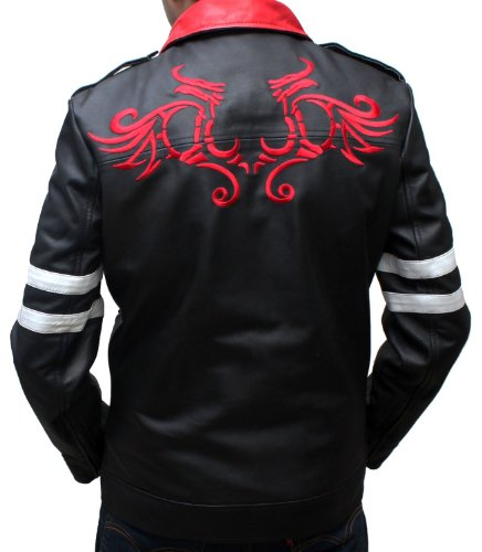 Real Black Leather Mens Prototype Game Jackets Halloween Comic Con Costume (XXL)