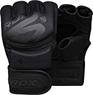 RDX MMA Gloves Noir, Maya Hide Leather, Ventilated Open D-Cut Palm, Padded Grappling Sparring Mitts, Cage Figh