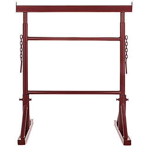 Happybuy Trestle 3.4Ft to 5.5Ft Height Adjustable 551LB Capacity Portable Iron Scaffold Band Stand for Plasterer Painter Bricklayer Builder Telescopic Lifting Support (6-Level) (Diy Scaffolding)