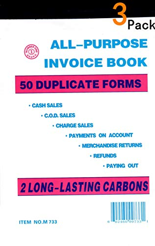 - All Purpose Invoice Sales Order Book, Receipt Invoice Duplicate, 5.67 x 8.5 Inches, 2-Part White/Canary, 50 Sets/Book(3 Pack)