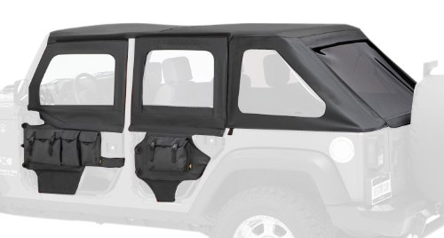 Jeep Wrangler Full Door Weatherstripping - Bestop 51805-35 Black Diamond HighRock 4X4 Element Door Upper Fabric Door Set for 2007-2018 JK Wrangler - Front