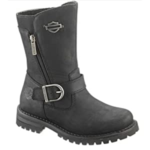 Harley-Davidson Women's Lizzie 8.2-Inch Black Leather Motorcycle Boots D87037 Size 5