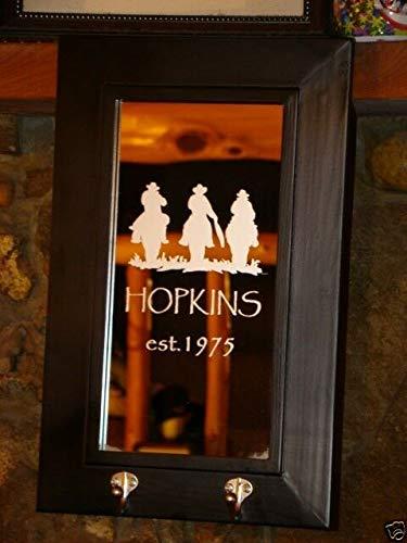 Etched Bar Mirrors - Yilooom Custom Wedding Western 2 Hook Personalized Etched Bar Mirror