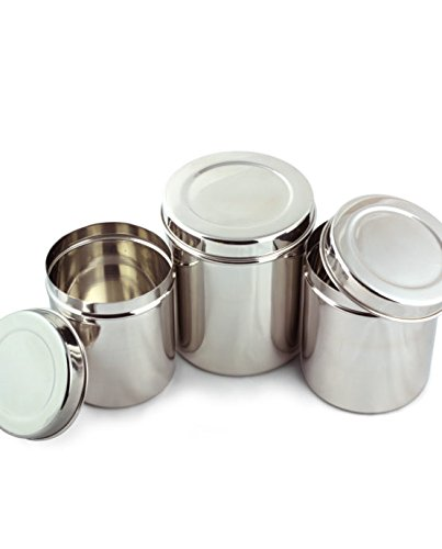 Cal Tiffin Stainless Steel CANISTER food storage set of 4 with lids (86, 64, 48, 36 fl oz). Great for sugar, coffee, tea, flour storage - Eco friendly, Dishwasher Safe, Green choice by Cal Tiffin