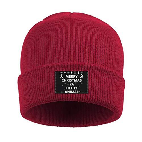 Unisex Acrylic Knit Cap Merry Christmas Ya Filthy Animal Watch Cap Winter Beanie Hat