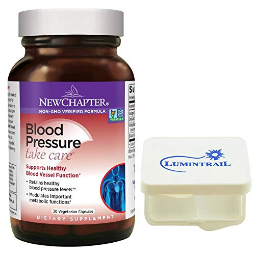 New Chapter Blood Pressure Supplement - Blood Pressure Take Care with Grapeseed + Black Currant + Non-GMO Ingredients for Blood Pressure Sup - 30 ct Bundle with a Lumintrail Pill Case