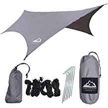 Hammock Rain Fly Tent Tarp: DIAMOND RIPSTOP Nylon, Water Proof, Lightweight, Includes Stakes & Ropes, Great for Camping, Hiking, Backpacking, Travel | By High Country Hikers