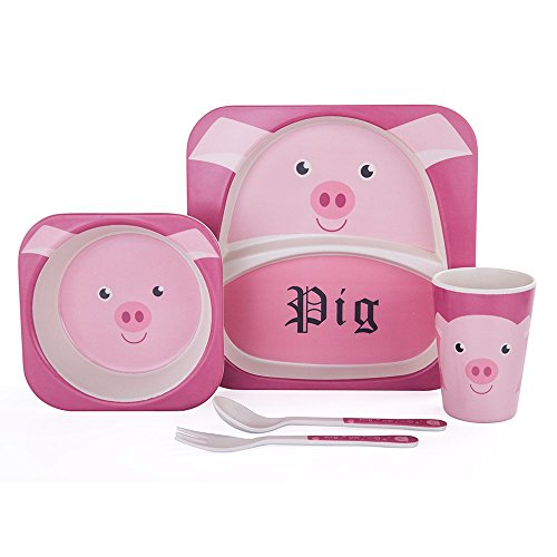 KLASKWARE Bamboo Fiber Kids Dinnerware Set Eco-friendly Baby Toddler Kids Tableware Set Plate Bowl Spoon Fork Cup BPA Free For Child 1-7 Years Old (Pink Pig) -