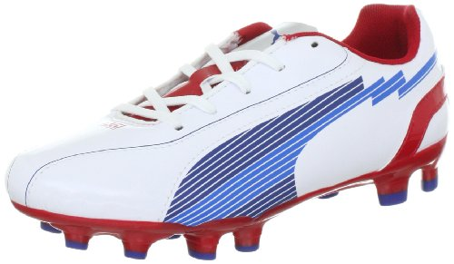 Fg Speed Boot - PUMA Evo Speed 5 FG Jr Junior Kids Boys Cam Football Shoes Boots White/Red, Sizes:D/38.5 - UK/5.5 - US/6.5 - CM/24.5