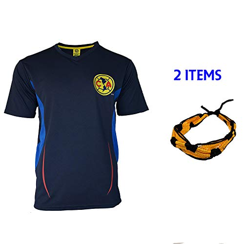 Club America Soccer Jersey Mexico FMF Adult Training Aguilas del America (Yellow T1A08, L)