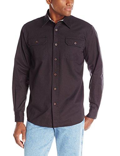 Wrangler Authentics Men's Long-Sleeve Classic Woven Shirt,Caviar,X-Large (Shirt Down Classic Button)
