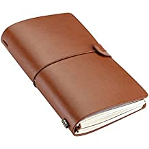 Travel Journal, Alloyseed Soft Leather Cover Notebook Vintage Journals to Write in for Men and Women, Refillable Traveler's Dairy Notebook with Blank Grid Paper 7.87 x 4.72 Inches, Brown