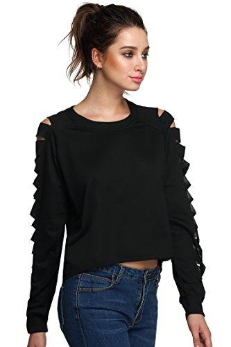 Teamyy Blusa casual de mangas largas huecas camiseta atractiva Top irregular de las mujeres Negro