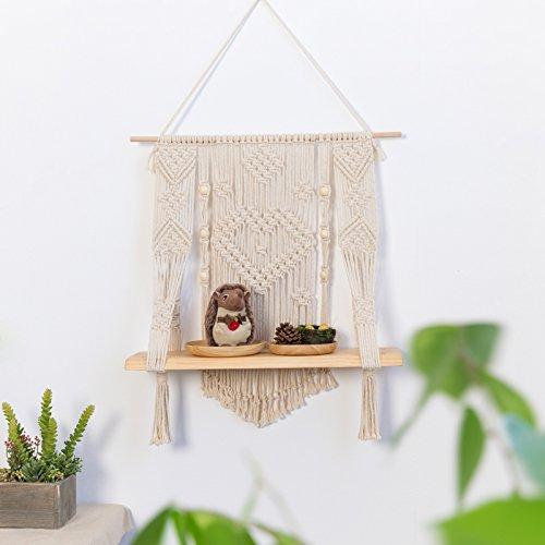 RISEON Handmade Vintage Rustic Wood Macrame Floating Hanging planter Wall Shelf Boho Chic Home Decor